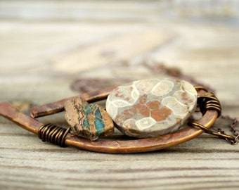 Rustic Artisan Pendant Necklace, Fossil Stone, Hammered Copper, Unique Necklaces For Women