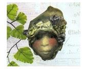 OOAK bead - clay art bead, Focal Bead, ceramic bead, art bead - face  bead - # 184