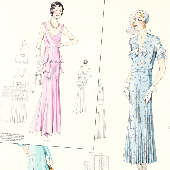 Pdf of 30s haute couture sewing pattern catalog croquis for Haute couture seamstress