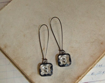 Glass Button Earrings  Recycled Jewelry