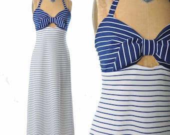 vintage 70s dress / nautical stripe halter dress / 1970s dress .. xs