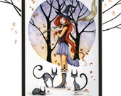 Hand Accented WITCH PRINT 5x7 matted 8x10 by Amy Brown