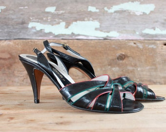 1980s strappy high heel sandals by Peter Kaiser / size 10 / 1980s heels