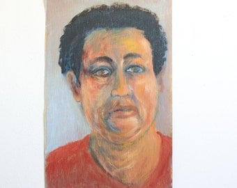 Vintage Portrait Painting / Outsider Art / 12 x 18 / Oil on Found Paper