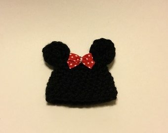 Holiday Elf Buddy Girl Mouse Ears Hat - Crochet Holiday Dress Up Hat for Decorative Elf