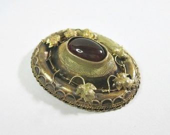 Antique Victorian Cabochon Garnet Brooch For Repair or Restoration Project - 10K - Etruscan Revival - C1870 - As Is