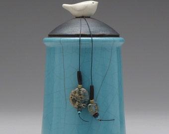 Ceramic Bird jar, turquoise blue,handmade pottery jar ,home decor,Little Clay Bird on Jar, raku fired art pottery, handmade jar with lid