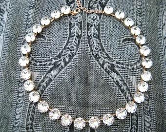 Swarovski Crystal Necklace, Rose Gold  28 Stone 48ss Xirus 1088 Clear Crystal Rhinestones, Wintour, Big Stones Layering Necklace Bridal