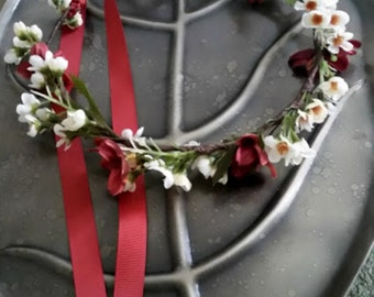 Fall Bridal Flower crown boho halo hair wreath Woodland circlet garland rust autumn wedding accessories headwreath Autumn Rustic Chic