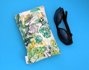 Roomy Sunglasses Case in a Hummingbird and Flowers Design