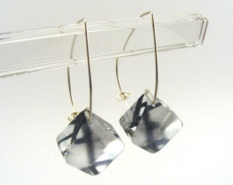Grey Earrings, Industrial Abstract Pattern Drop Earings