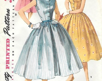 Simplicity 1191 1950s Bateau Neckline Party Dress with Full Skirt Vintage Sewing Pattern Bust 29 30 32 Fitted Bodice