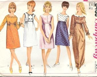 Simplicity 6433 1960s Mod Empire Waist Dress Vintage Sewing Pattern Size 16 Bust 36 Wide Neck Sleeveless Dress