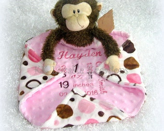 Birth Announcement Stuffed Animal With Lovey, Personalized Birth Stats Blanket and Plush Monkey toy, Unique Baby Gift by Lovablekreations