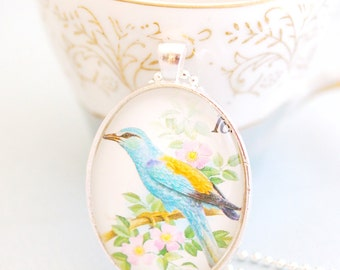 bird necklace, postage stamp jewelry, vintage stamp necklace 1990, blue bird pendant