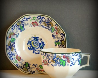 Antique Doulton Burslem Teacup and Saucer Nankin Tea Cup and Saucer