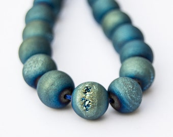 Mystic Titanium Frosted Peacock Mermaid Blue Plated Round Agate Druzy  Beads 10mm