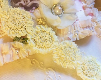 Light LEMON Ruffled Flower Trim with Soutache floral Medallions- 1 yard