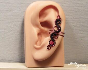 Lucy EAR CUFF - black & red ear cuff, gothic ear cuff, no piercing ear cuff, gothic jewelry, gothic ear wrap, vampire ear cuff