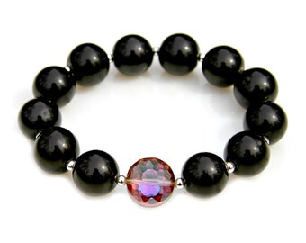 Black Agate Beaded Bracelet Chunky Statement Silver Rainboow Crystal Elegant Classic Night Out Stacking Stretch Fit High Fashion Mei Faith