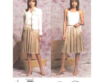 Jean Jacket Pattern Pleated Skirt Pattern Vogue 2793 Women Casual Evening Wear Oscar de la Renta Designer Sewing Pattern Size 14 16 18 UNCUT