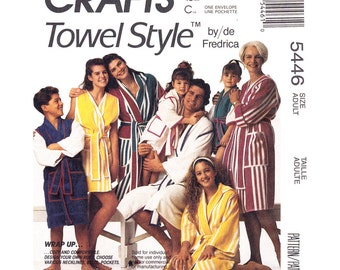 Mens & Womens Robe Pattern McCalls 5446 Hooded Wrap Robe Made of Towels or Fabric Pockets Adult Sewing Pattern Size S M L XL UNCUT