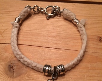 braided cotton bracelet with gold pearl charm