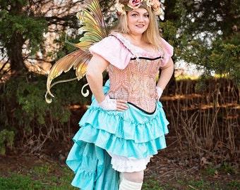 Pink Pastel Custom Steampunk Corset, Victorian, Renaissance, Fairy Costume