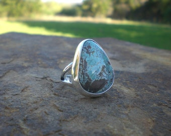 Natural Candelaria Turquoise Silver Ring Freeform Smooth Simple