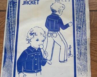 vintage 80s sewing pattern 104 Wee Jean Jacket toddlers sz 1-2-3 uncut