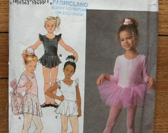 1996 simplicity sewing pattern 7351 Child's PRACTICE BALLET COSTUME sz 3,4,5,6
