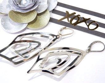 3-D Trendy Sterling Silver Dangle Earrings.
