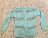 HOLD for PM - Dec 1  - Blue Green Spring Sweater - Soft, Cozy and Fuzzy Wool and Mohair Blend - Made in Italy - Italian - 34 36 Bust