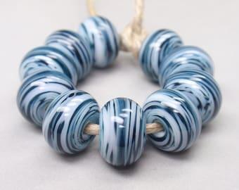 White Swirls  - 10 Handmade Lampwork Beads SW 179