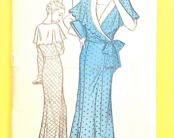 1930s Dress Pattern New York 1291 Vintage Sewing Pattern Surpice Waist Cape Collar  Bust 38