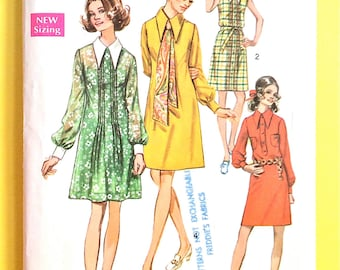 Early 70s Simplicity 8656 Misses' Shirt Dress with buttoned cuffs, collar, tie Sleeveless Vintage Sewing Pattern Bust 34 Hip 36 inches