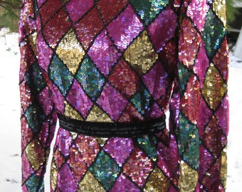 Gift Christmas blouse LiKe New Store Tagged GLASS Beaded Sequined blouse of All SILK, silk shirt beaded blouse sequined blouse nwt sequins