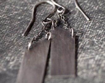 Sexy asymmetrical and industrial sterling silver chained earrings