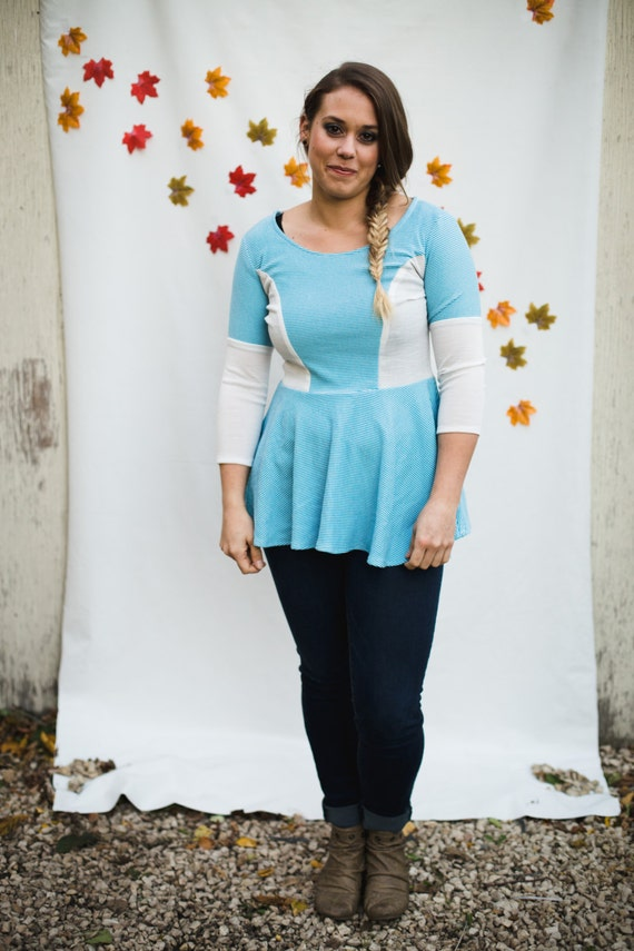 3/4 Sleeve Peplum Top - White/Blue