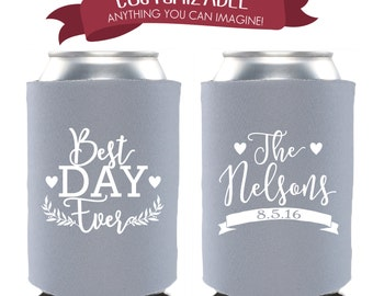 Best Day Ever Custom Can Cooler Wedding Favors Fun Wedding Party Gifts Wedding Anniversary Party Gifts Custom Beverage Can Cooler 2D117