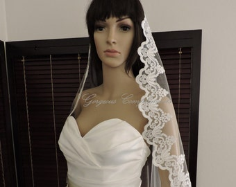 Lace Mantilla Bridal Veil  Alecon Lace Style Off White or Light Ivory, Bridal Veil