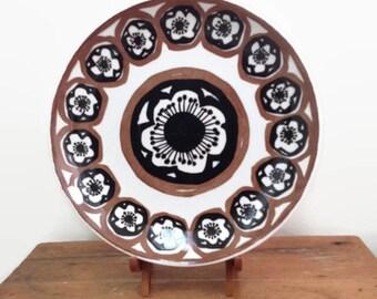 Royal China USA Plate - Brown Black Flowers - 1960s - Royal Ironstone