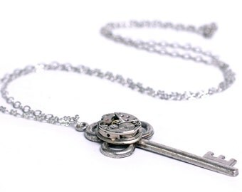 Steampunk Vintage Watch n Key Necklace