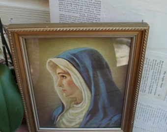 Beautiful Vintage Madonna / Mother Mary Wall Picture