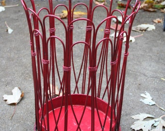 Fantastic Red Vintage Wire Waste Basket / Umbrella Basket/Holder / Plant Holder