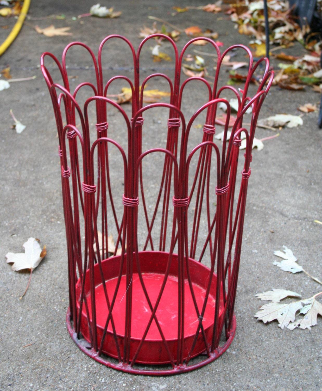 Wire Waste Basket fantastic red vintage wire waste basket / umbrella
