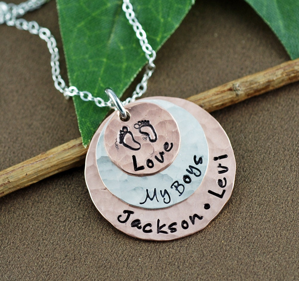 Love my boys jewelry hand stamped mom necklace for Jewelry for mom for christmas
