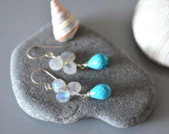 Turquoise and Rainbow Moonstone Earrings in Sterling Silver - chandelier, wire wrapped, faceted drop briolette dangle, blue flash