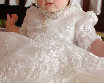 Monica Rose white Christening gown set by Angela West Handcrafted Heirloom gown set