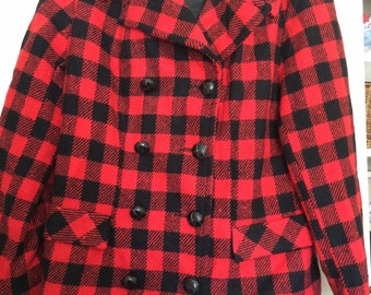 CYBER MONDAY SALE 1960s Wool Plaid Peacoat